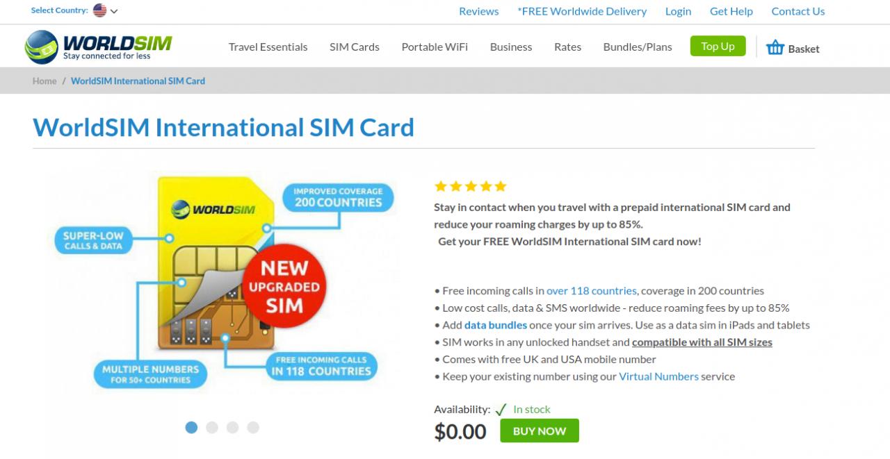 WorldSim:无月费英国、美国实体电话卡推荐