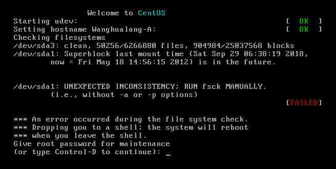 An error occurred during the file system check