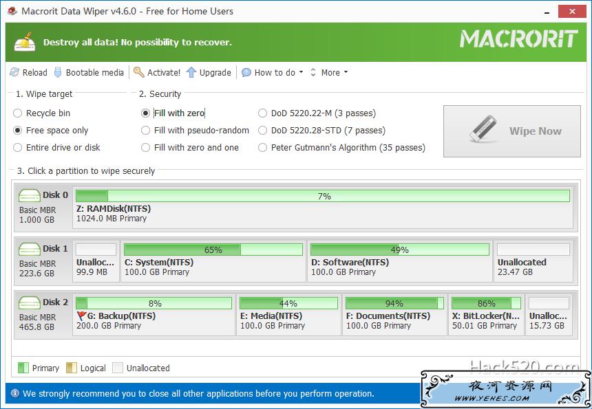 磁盘空间彻底擦除使数据无法恢复 – Macrorit Data Wiper 下载