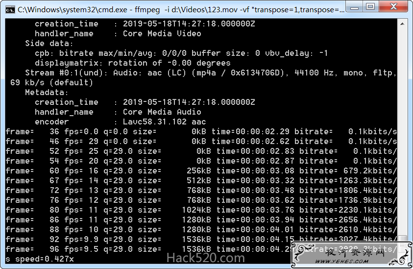 FFmpeg 视频画面旋转的命令详解及旋转失败的解决方法