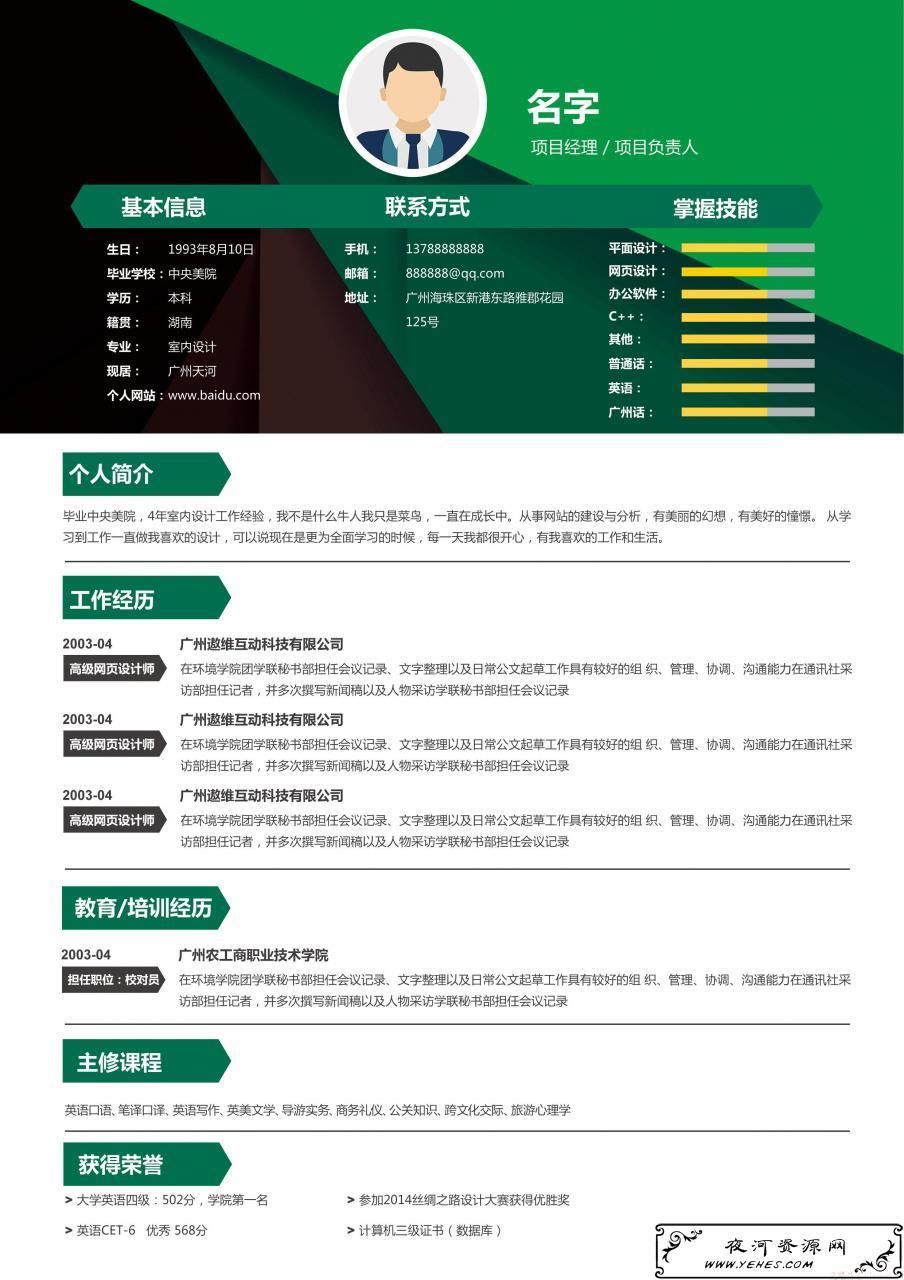 绿色科技个人简历精品模板PSD