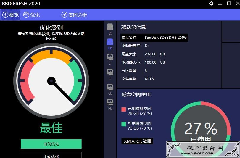 SSD Fresh免注册破解版版一键延长硬盘寿命 提高性能
